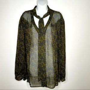 APT. 9 Sheer Abstract Blouse Button Front Tie Neck